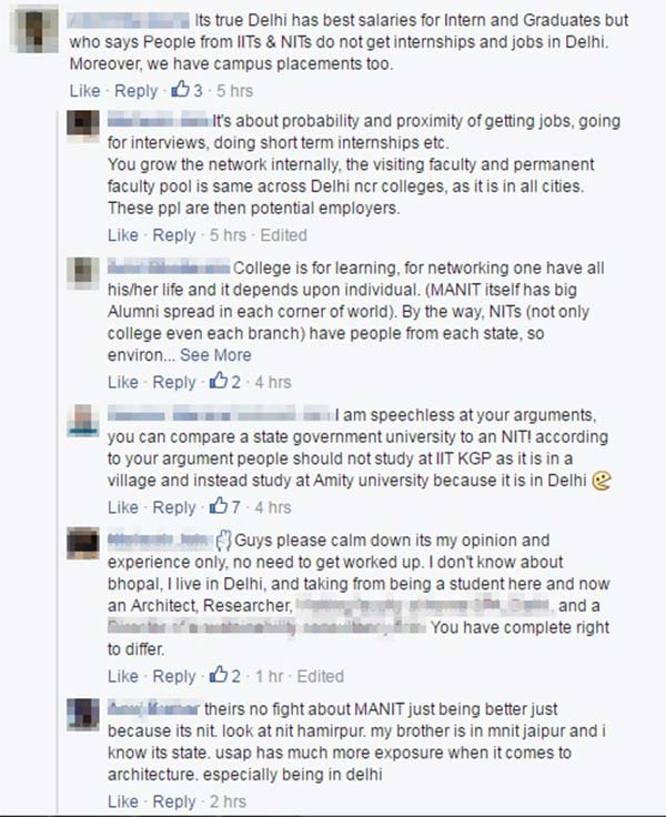 N.I.T. Bhopal & U.S.A.P. Delhi conversation gets owned by S.P.A. Delhi Comment