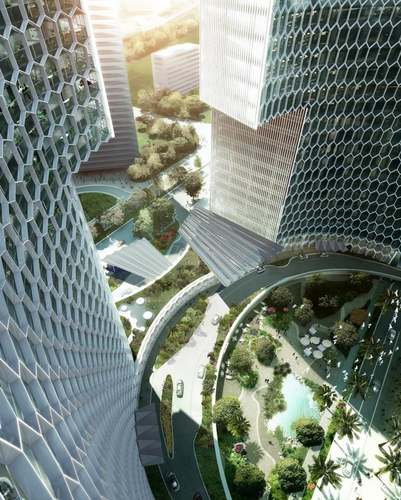Buro Ole Scheeren unveils DUO towers in Singapore_07