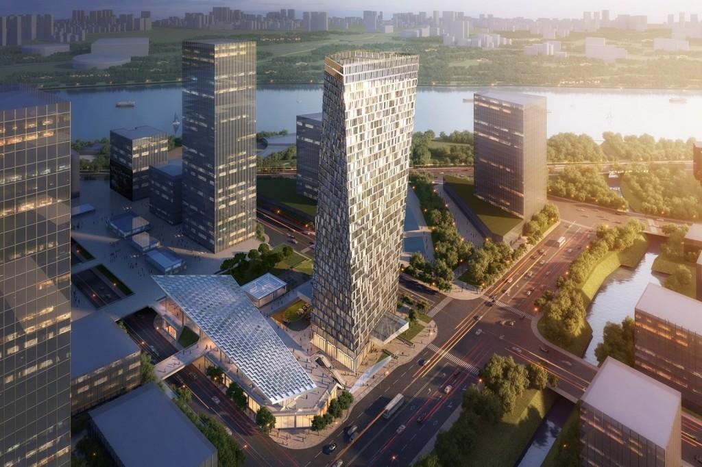 Xuhui Binjian Media City 188S G 1 Tower and Podium Winning Proposal _Aedas_2