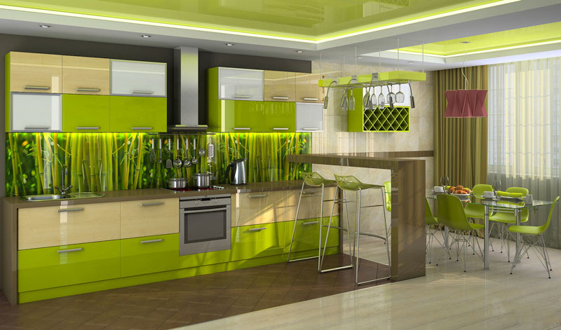 #1Beautiful green kitchen design with wooden countertop and backsplash