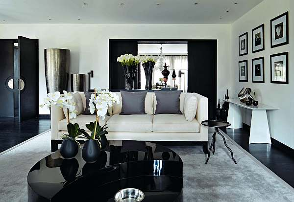 10 Elegant Living Room Color Schemes - Dramatic Black and Grey