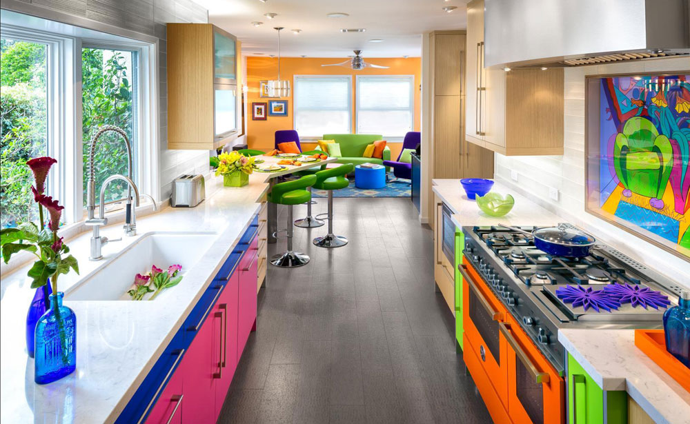 #3Colorful Kitchen With Orange Range Mixes