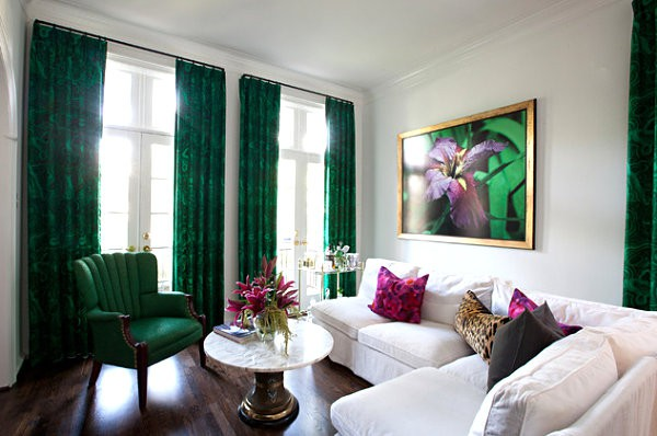 10 Elegant Living Room Color Schemes - Emerald and White