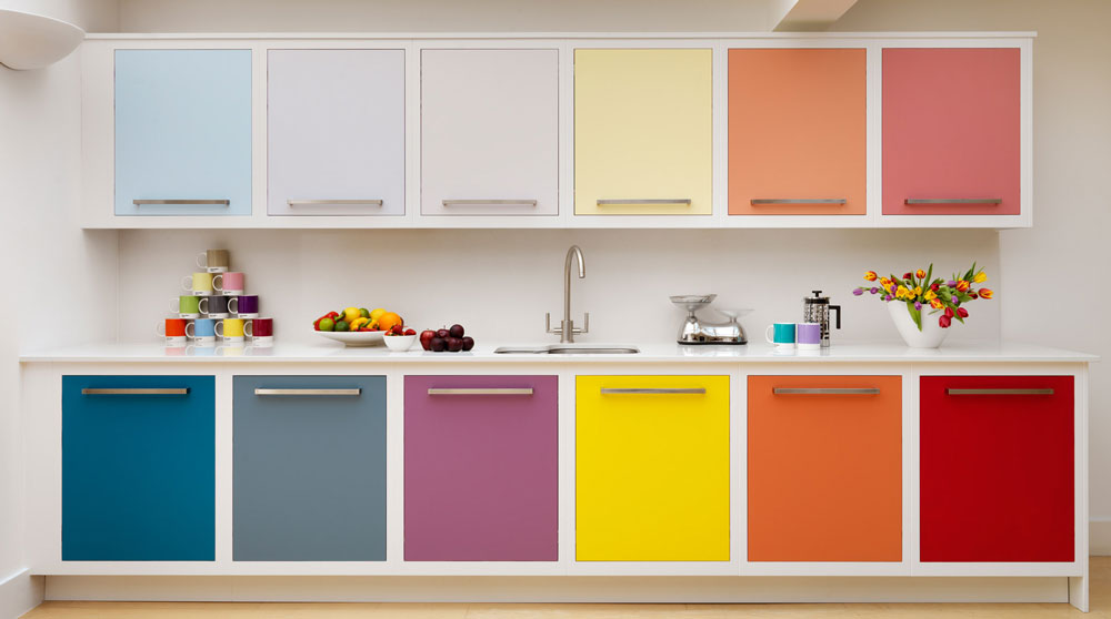 #9Rainbow Colored Kitchen