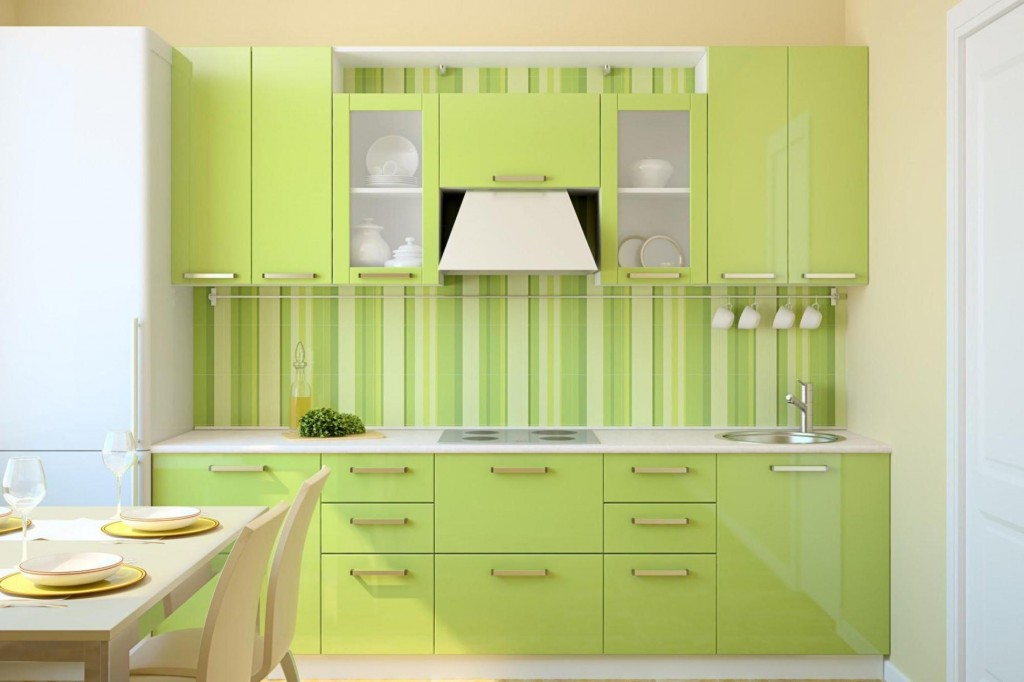 10 Amazing Colorful Kitchens To Inspire You - Green Striped Kitchen
