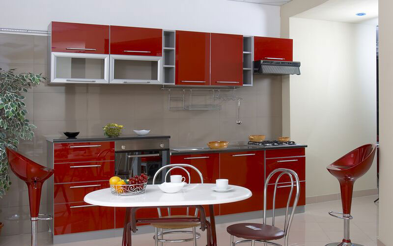 #6Red and Grey Kitchen Cabinets
