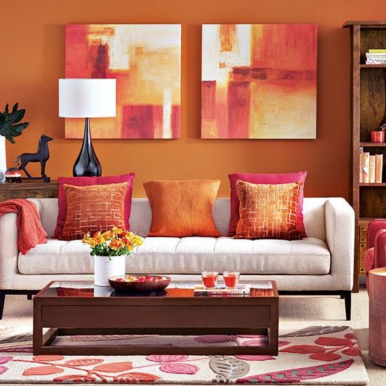 10 Elegant Living Room Color Schemes - Bursts of Orange