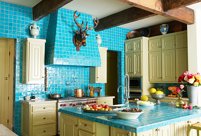 10 Amazing Colorful Kitchens To Inspire You - Turquoise and Yellow Kitchen