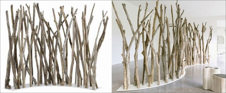 Creative Room Divider By Office Screen Partition Ideas - Natural Tree Branch Divider
