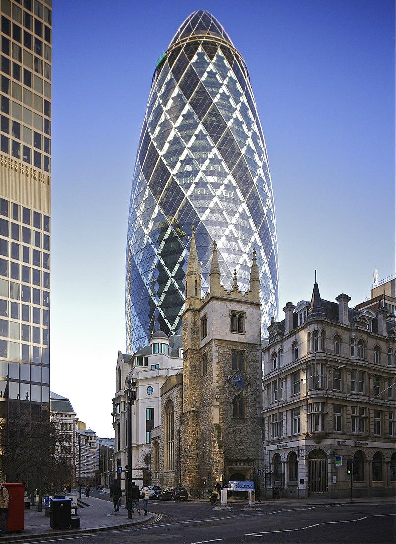 25 Projects by Norman Foster that made him a leader in the Architecture Industry - The Gherkin (30 St Mary Axe)