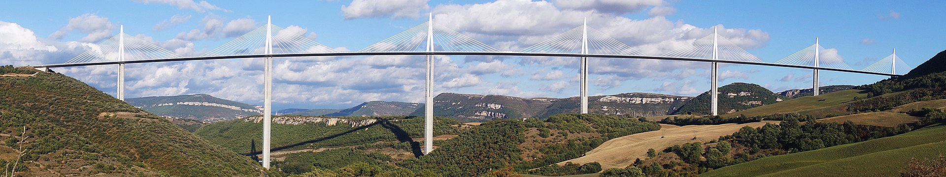Panorama view of bridge - Millau Viaducta25 Projects by Norman Foster that made him a leader in the Architecture Industry - Millau Viaduct, France