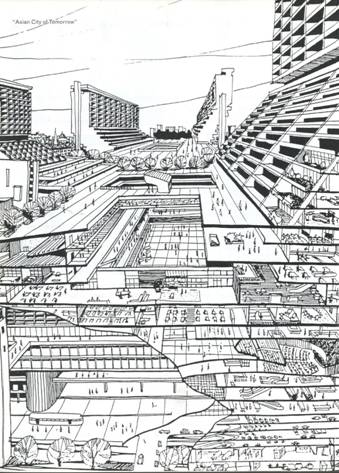 A sketch envisioning the Asian cities of tomorrow - source www.gardensbythebay.com.sg