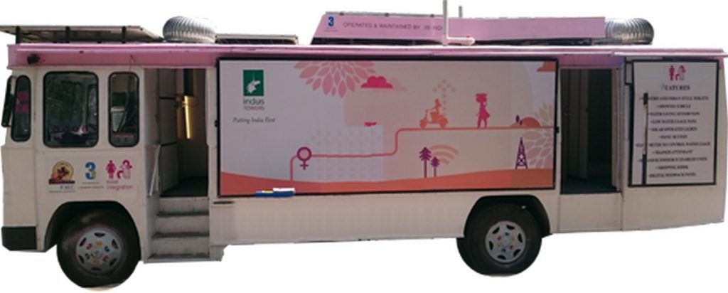 The TI toilets integrated into a bus, an initiative by PMC, Indus and 3S