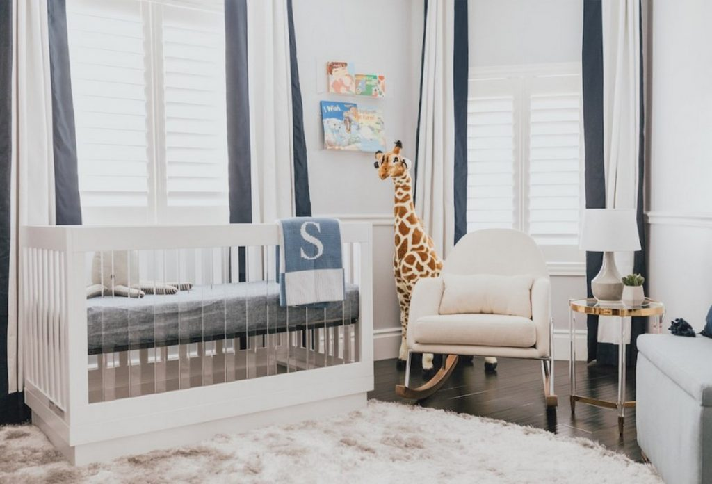 Navy Modern Nursery, Calabasas by Little Crown Interiors, LLC