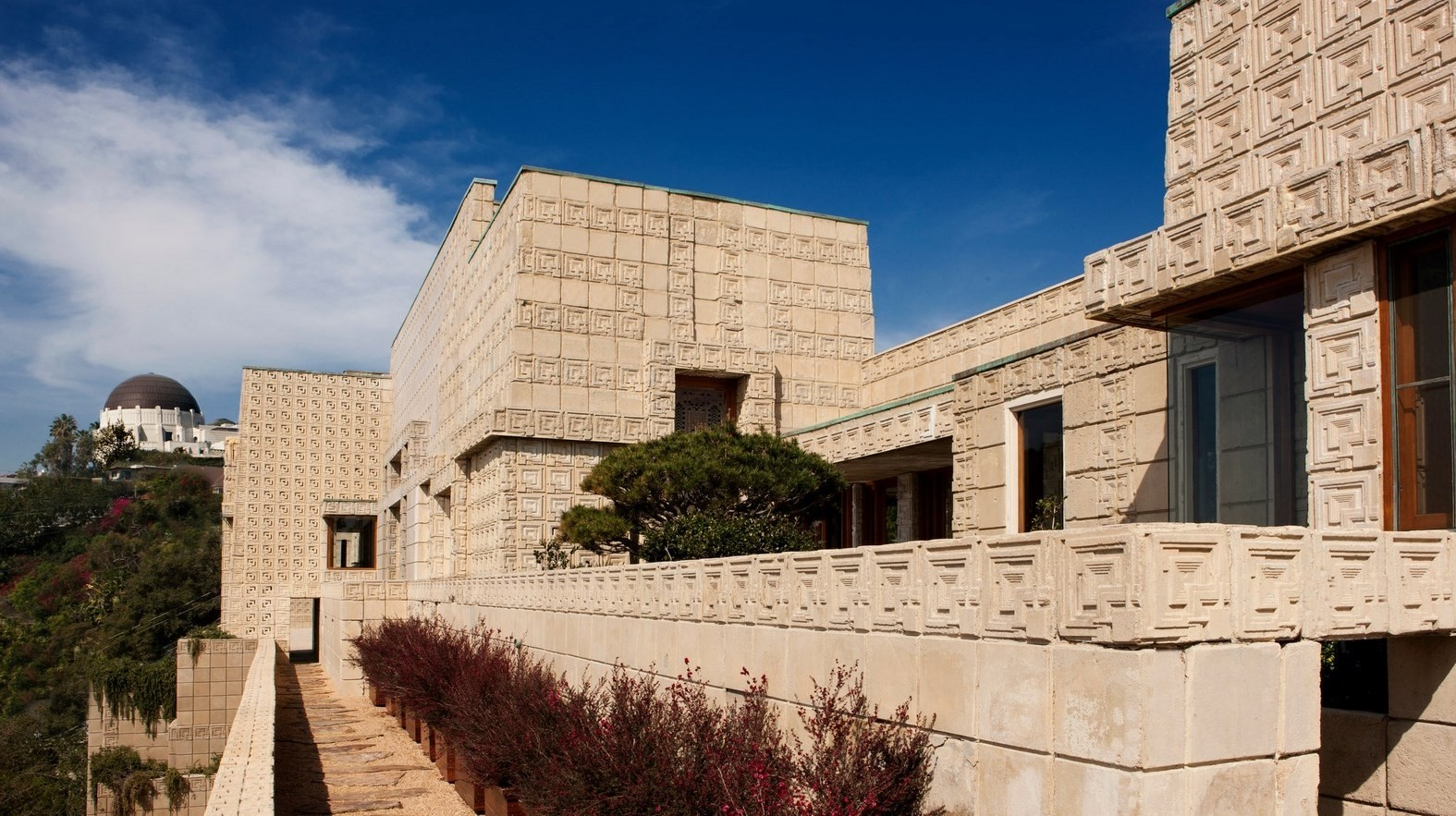 Not all modern architecture is rootless- Exterior view of Frank Lloyd Wright's Ennis House