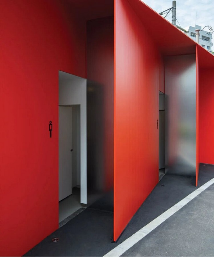 Nao Tamura Designs All red restroom for the Tokyo Toilet Initiative9