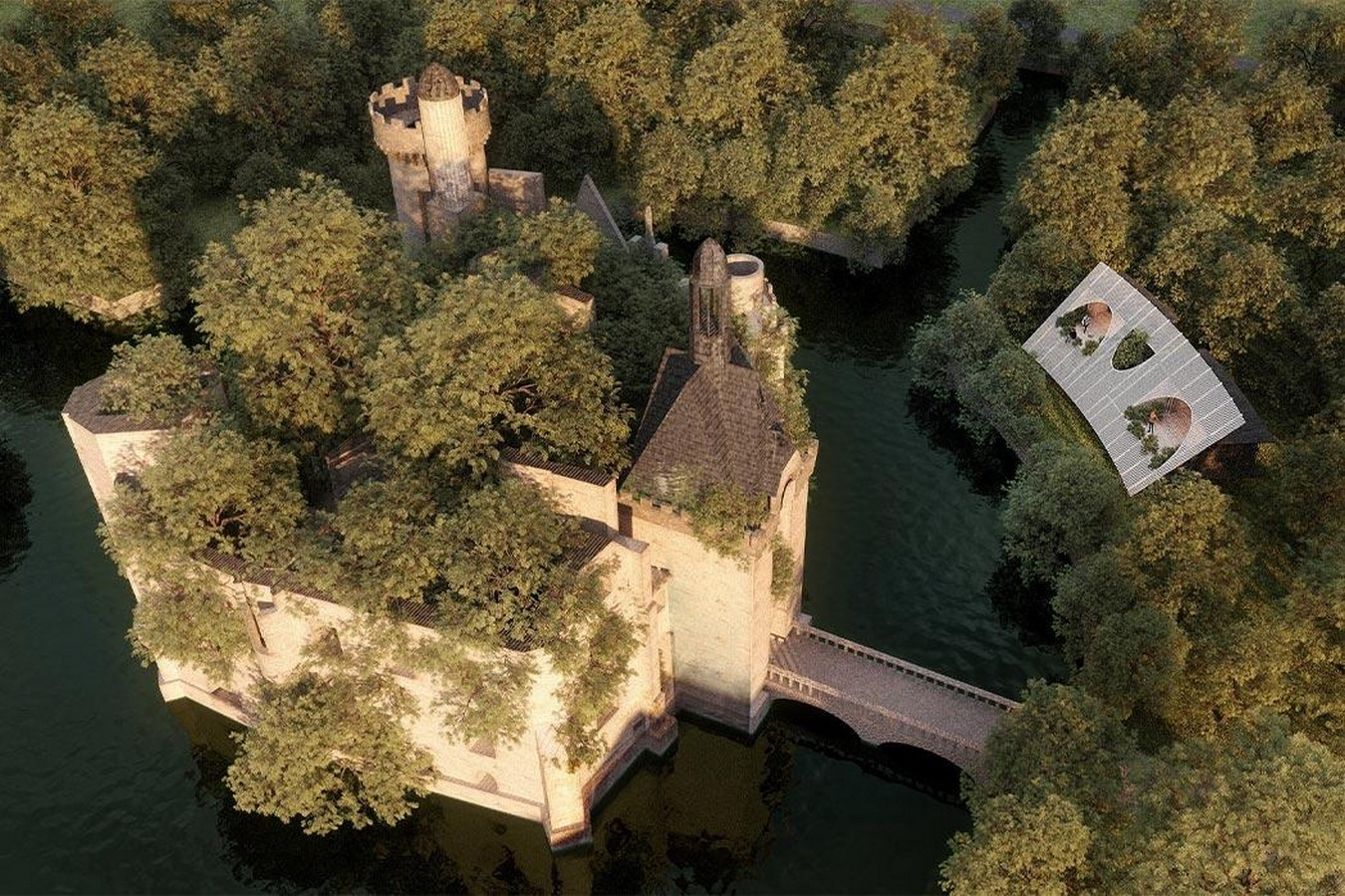 'château-scope' treehouse to frame views of a french castle proposed by LMTLS - Sheet1
