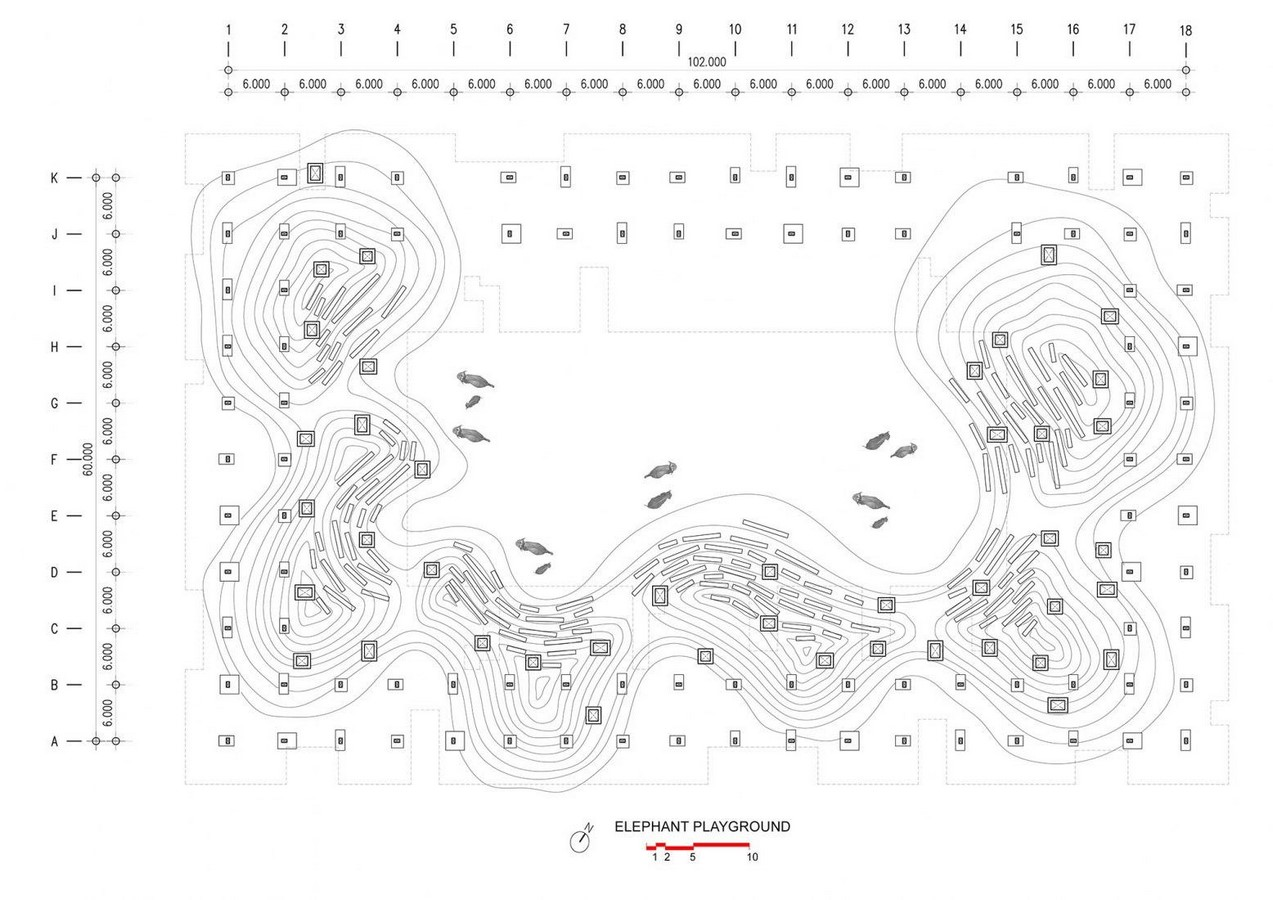 'Cultural courtyard' for elephants + humans in thailand created by Bangkok project studio- sheet8