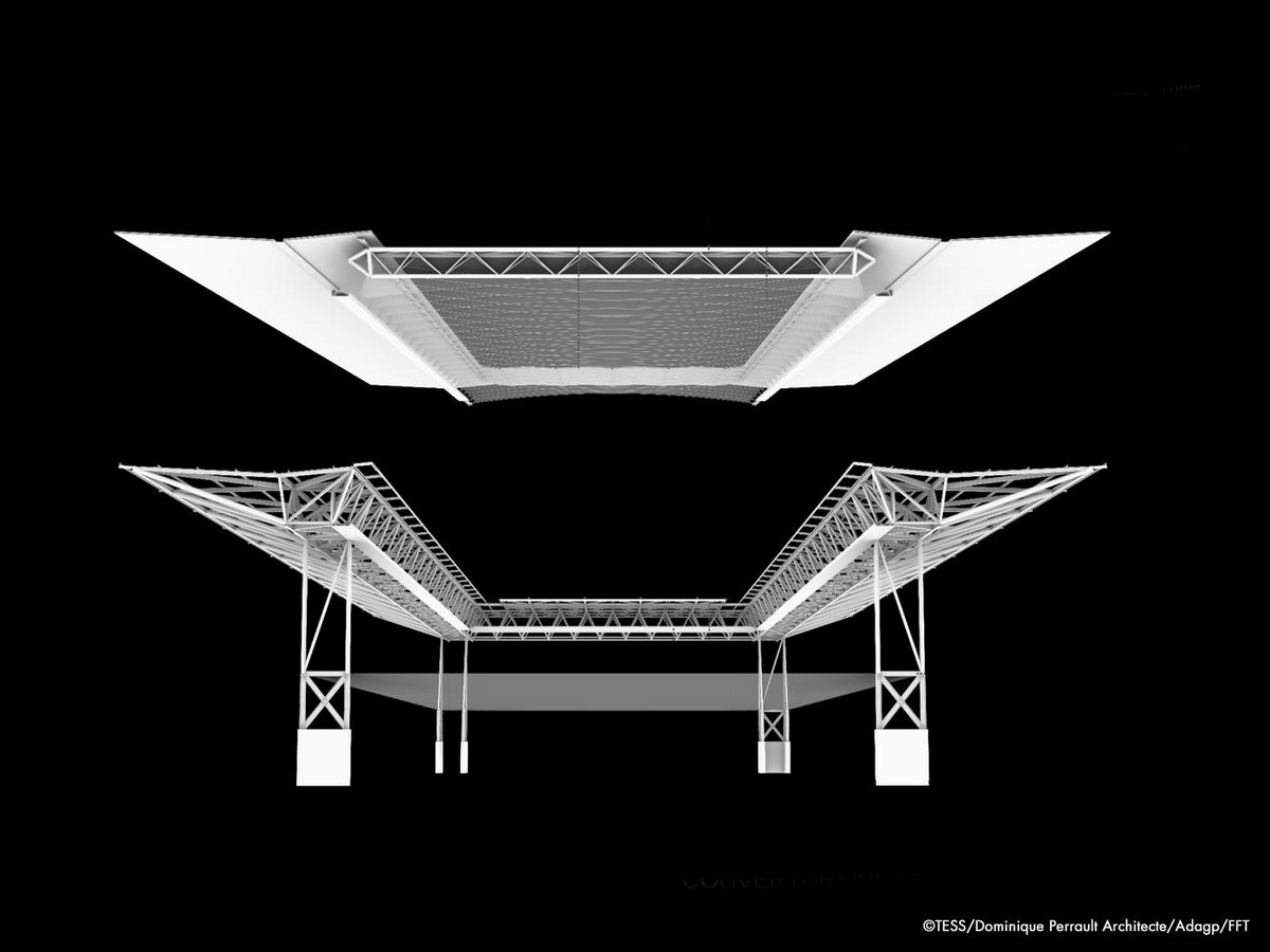Suzanne Lenglen Tennis Court in Paris to be transformed with delicately pleated retractable roof by DPA - Sheet2