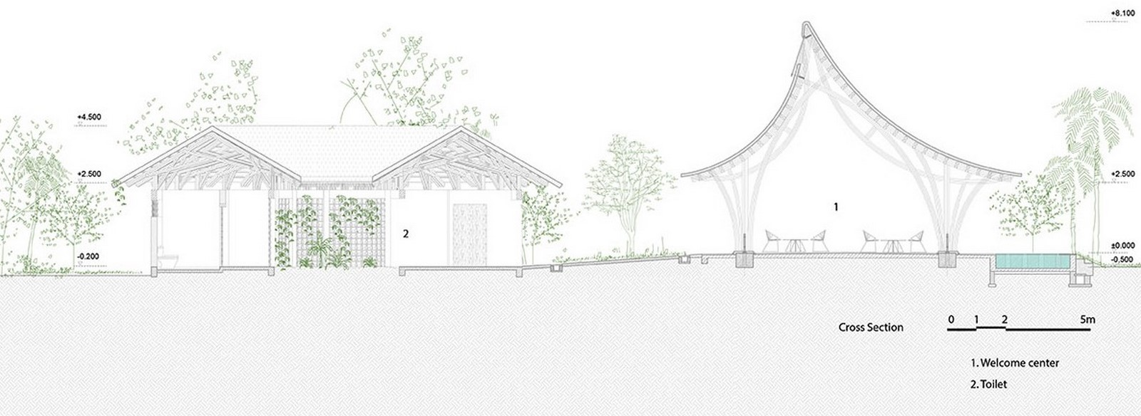 Highly-Curved Bamboo Roof For Visiting Center For Huong An Vien Cemetery created by VTN Architects - Sheet2