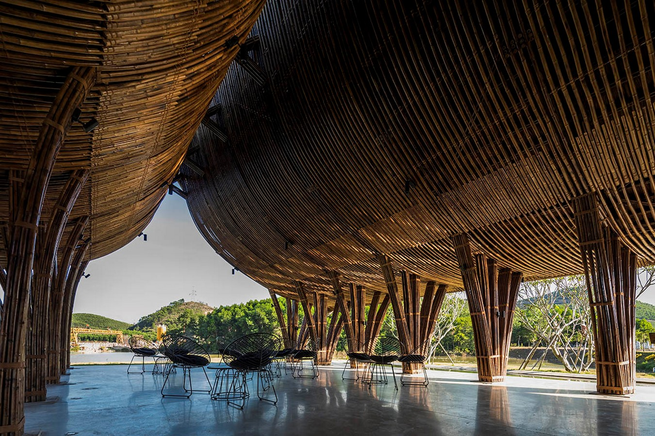 Highly-Curved Bamboo Roof For Visiting Center For Huong An Vien Cemetery created by VTN Architects - Sheet4