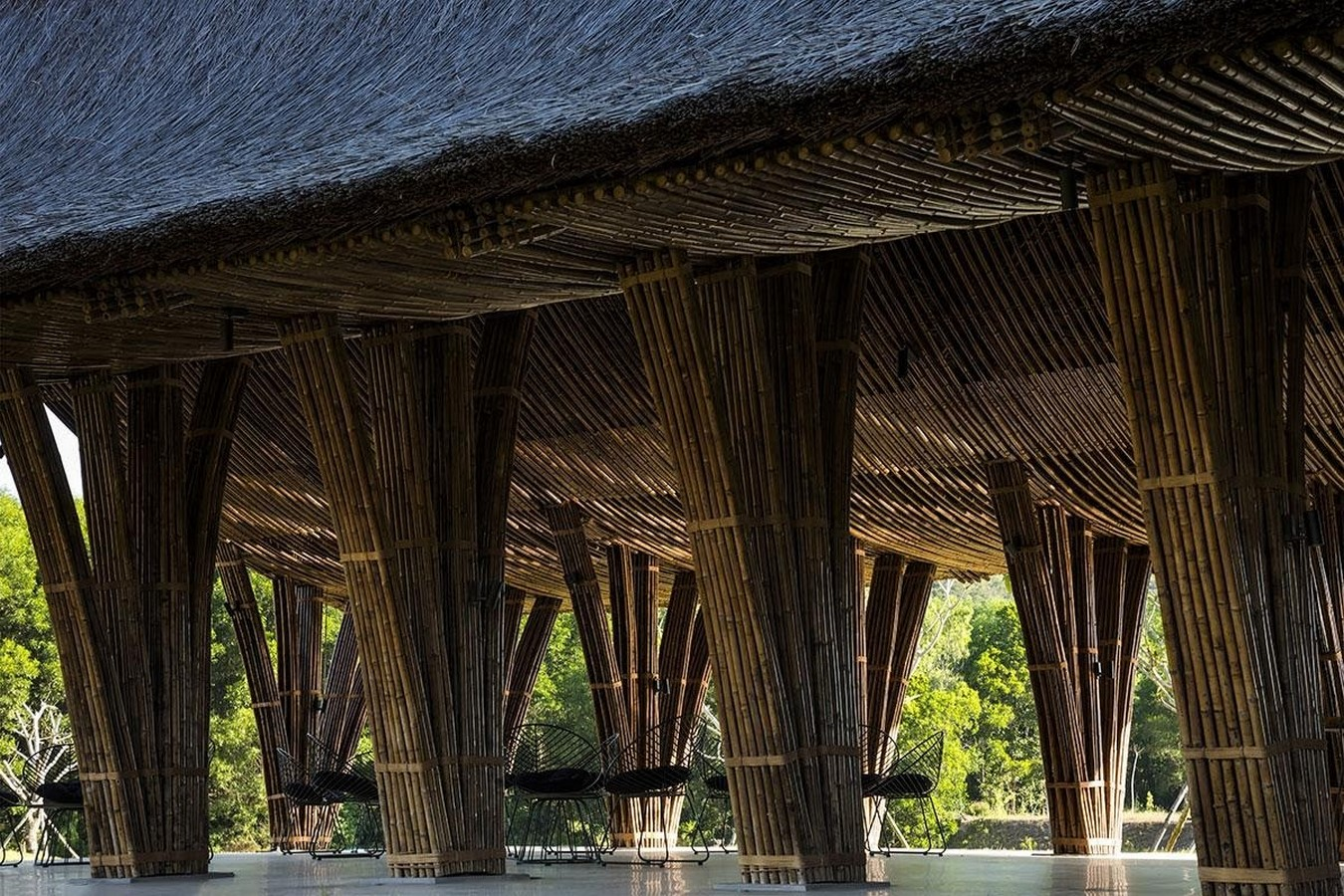 Highly-Curved Bamboo Roof For Visiting Center For Huong An Vien Cemetery created by VTN Architects - Sheet5