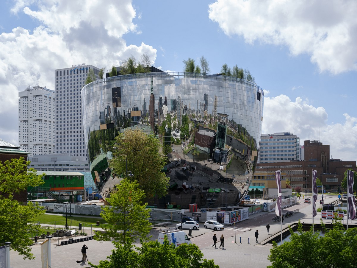 Mirrored public art depot with rooftop garden in Rotterdam completed by MVRDV - Sheet1