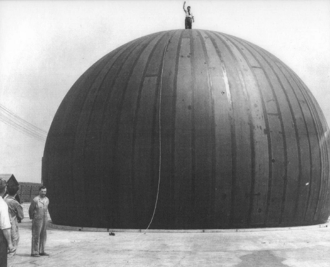 The first permanent air-supported membrane domes were the Radomes built after World War II