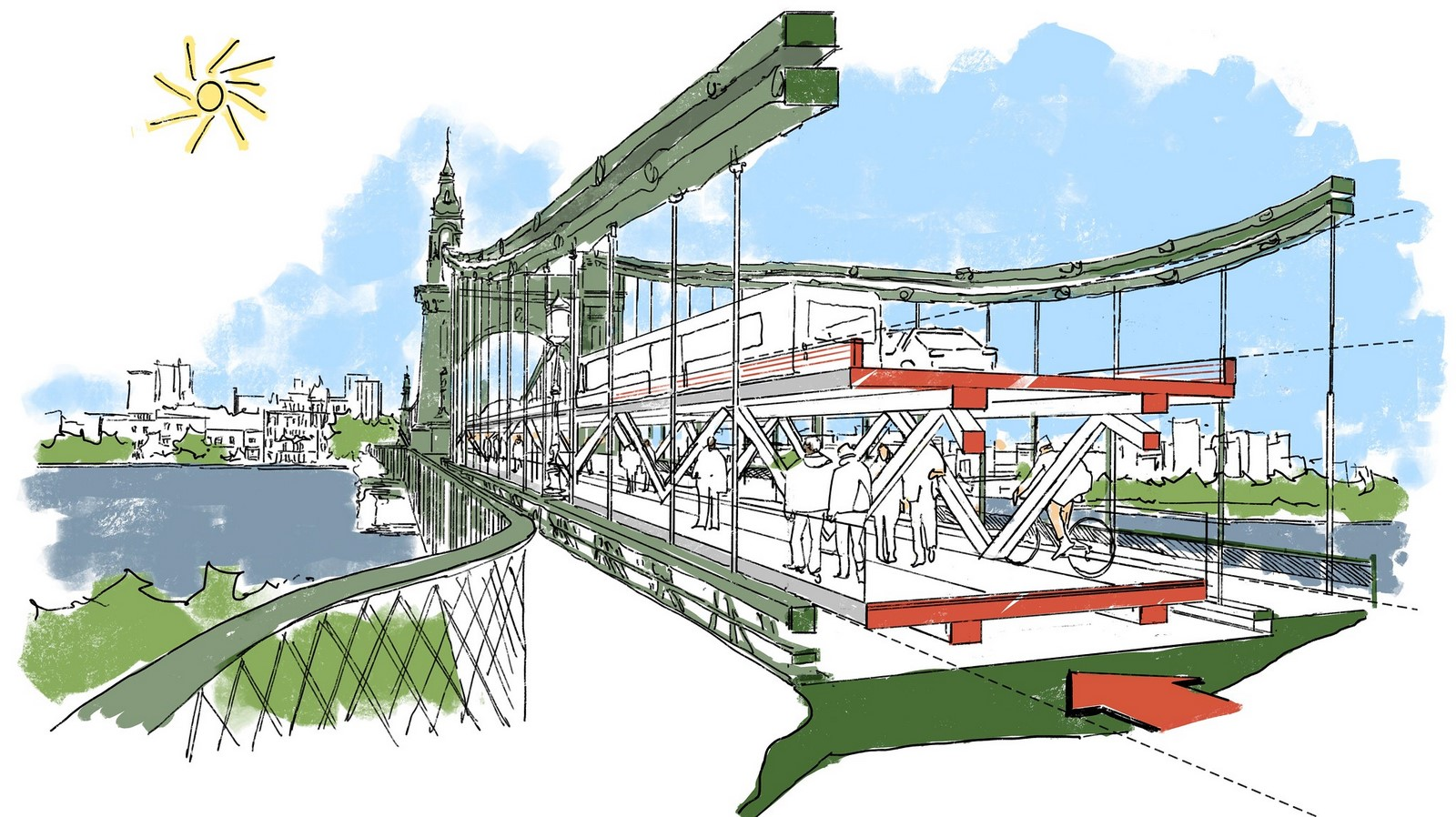 Idea for double-decker Hammersmith Bridge presented by Foster + Partners- Sheet2