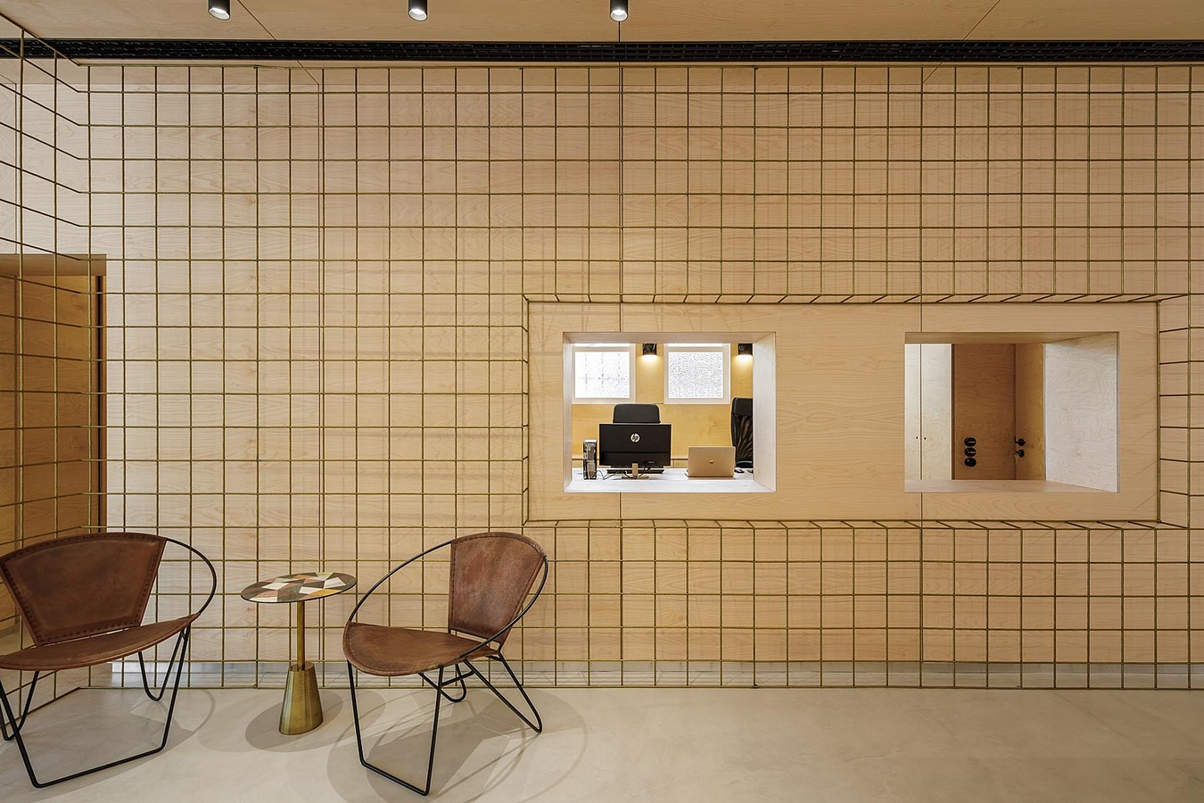 Interior Space divided with Golden Wire Meshes For Multiple Uses In This Store In Portugal by Stu.Dere- Sheet3