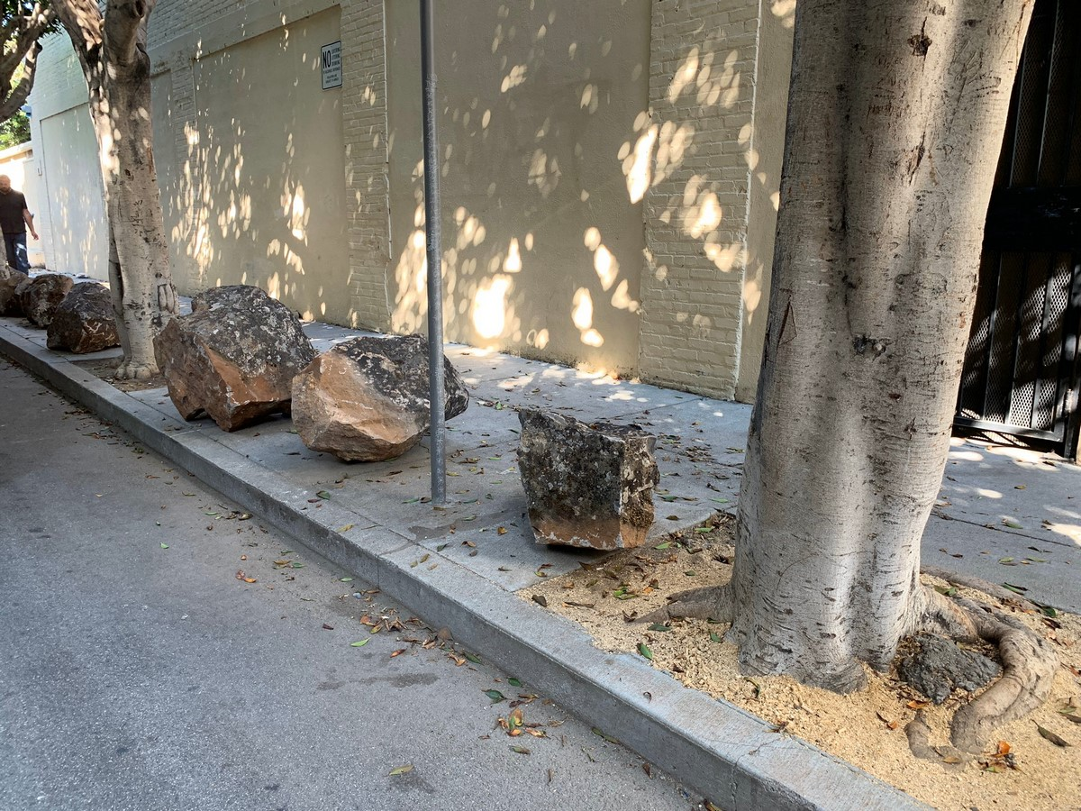 Sidewalk boulders in San Francisco, USA- Sheet1
