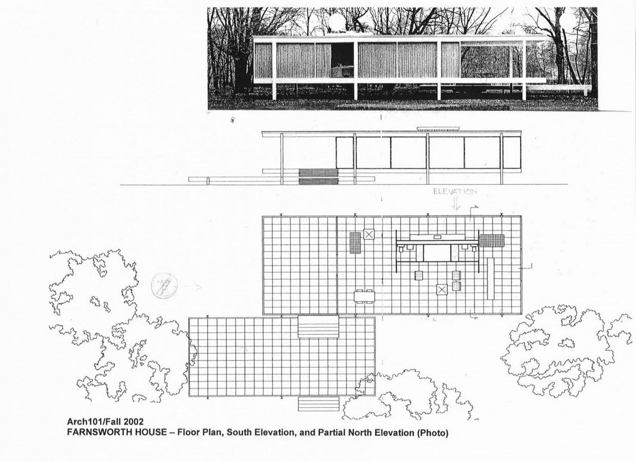 Farnsworth House, Illinois, Chicago, USA by Mies Van der Rohe - Sheet3