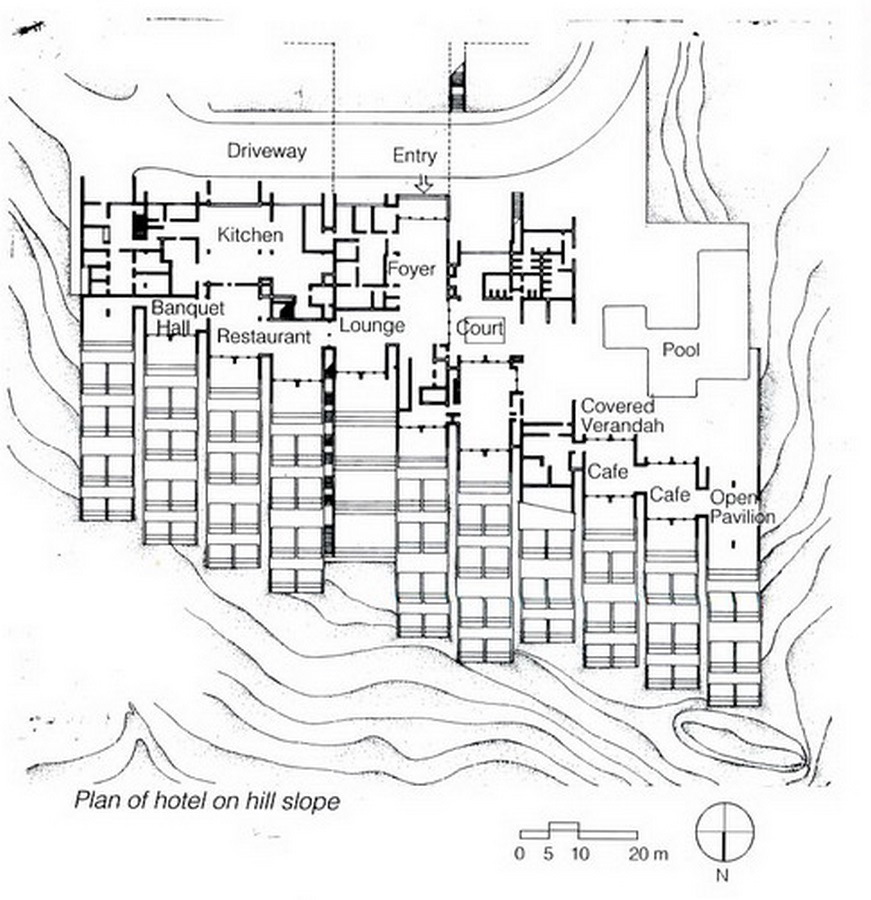 Kovalam Beach Resort by Charles Correa: Open to sky space Approach - Sheet5