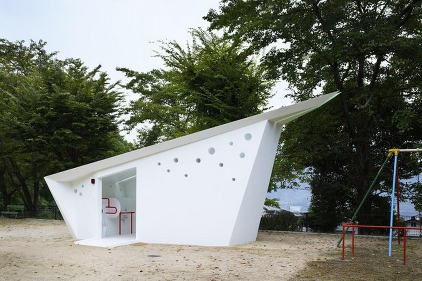 Origami shaped toilets at Hiroshima Park, Japan