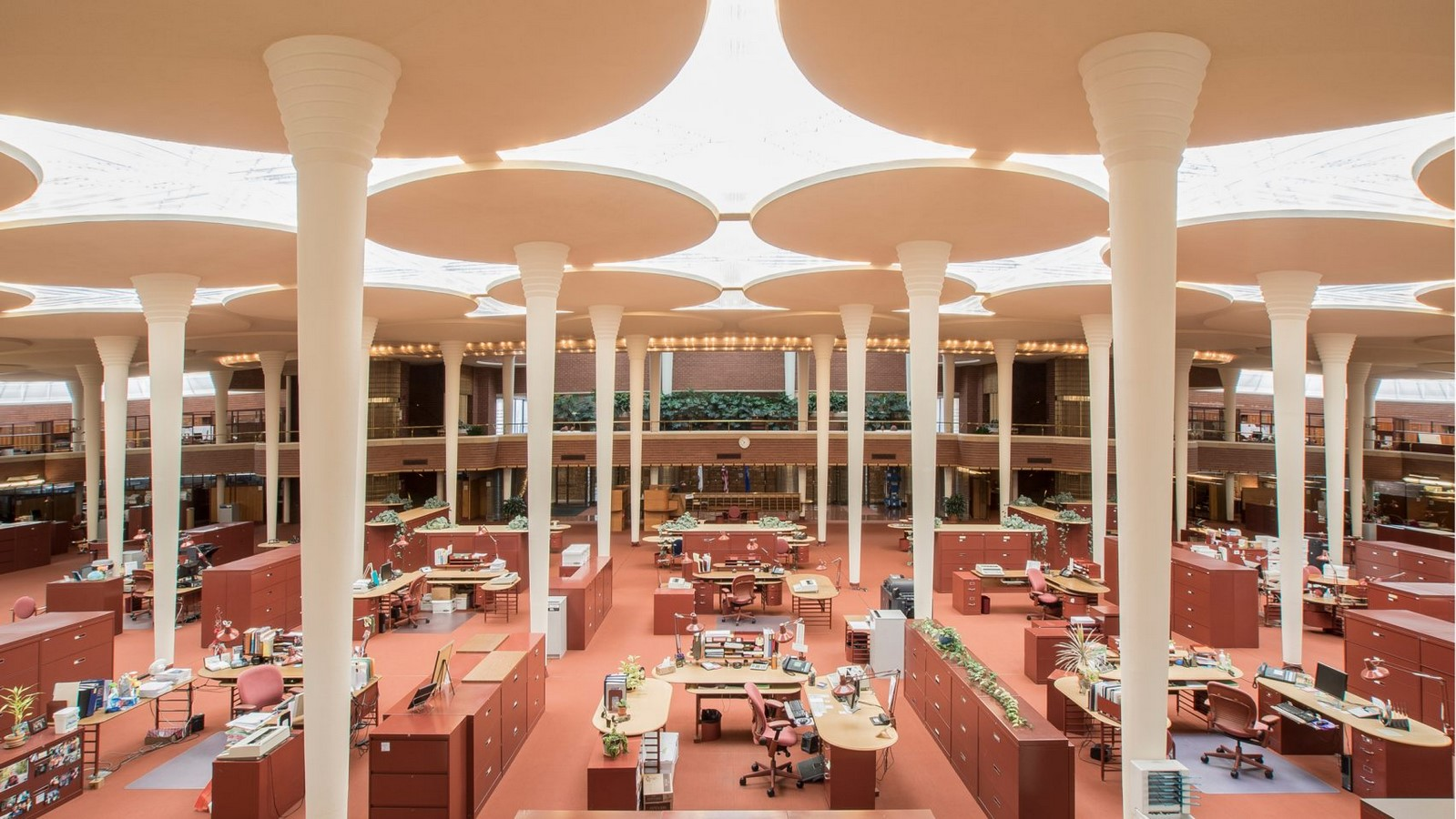 Johnson Wax Headquarters by F.L. Wright: The building with 'Lily pad' Columns - Sheet3