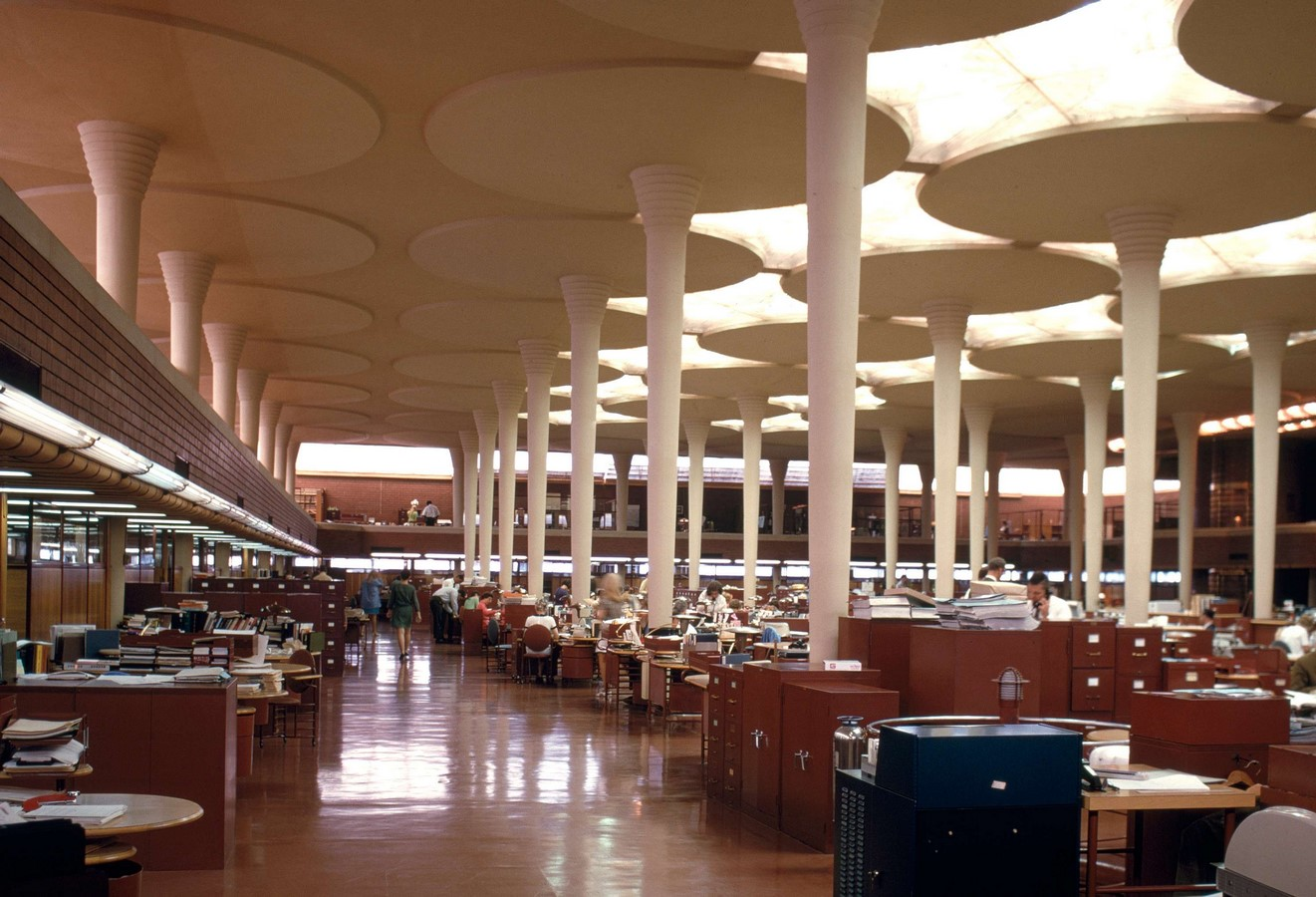 Johnson Wax Headquarters by F.L. Wright: The building with 'Lily pad' Columns - Sheet4