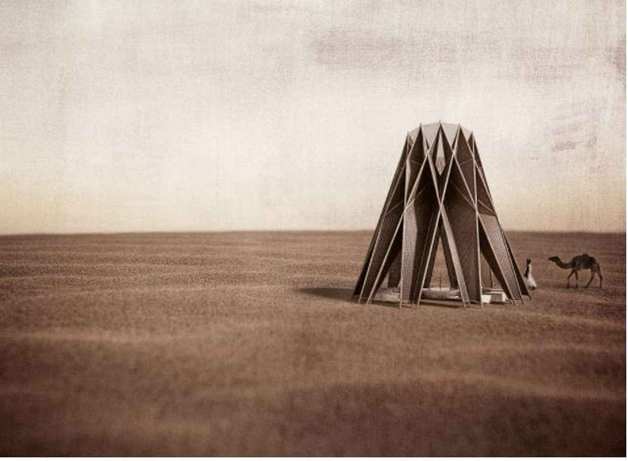 Nomad pavilion by Dina Haddadin and Rasem Kamal: Shelter and Water collection unit in Jordanian desert - Sheet2