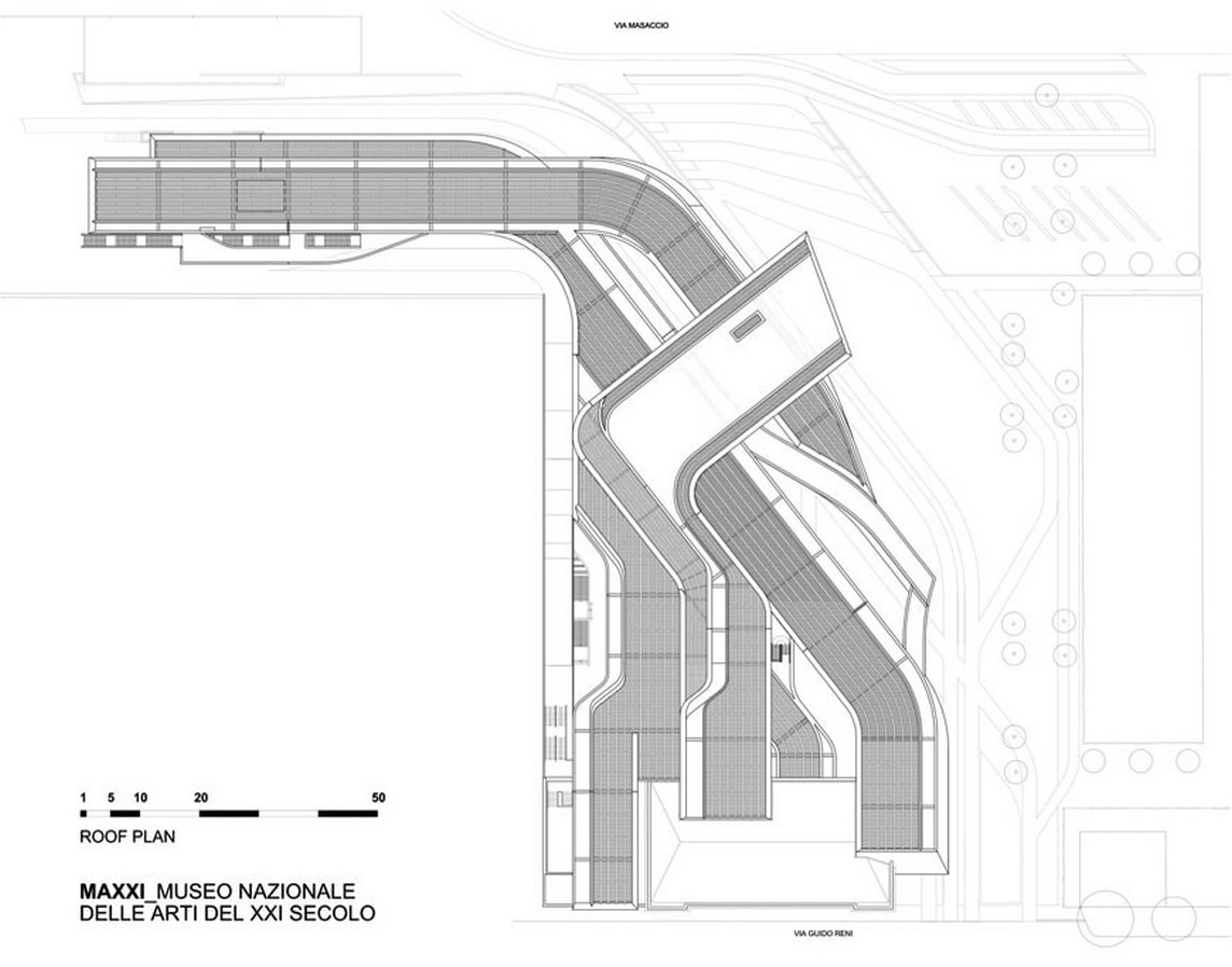 MAXXI - National Museum of 21st Century Art by Zaha Hadid: Continuity of spaces - Sheet3