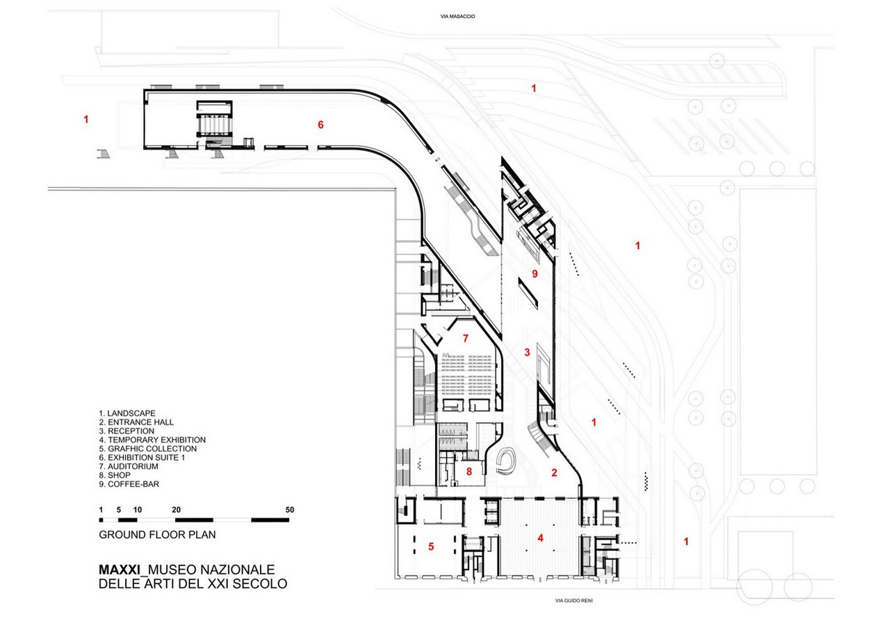 MAXXI - National Museum of 21st Century Art by Zaha Hadid: Continuity of spaces - Sheet5
