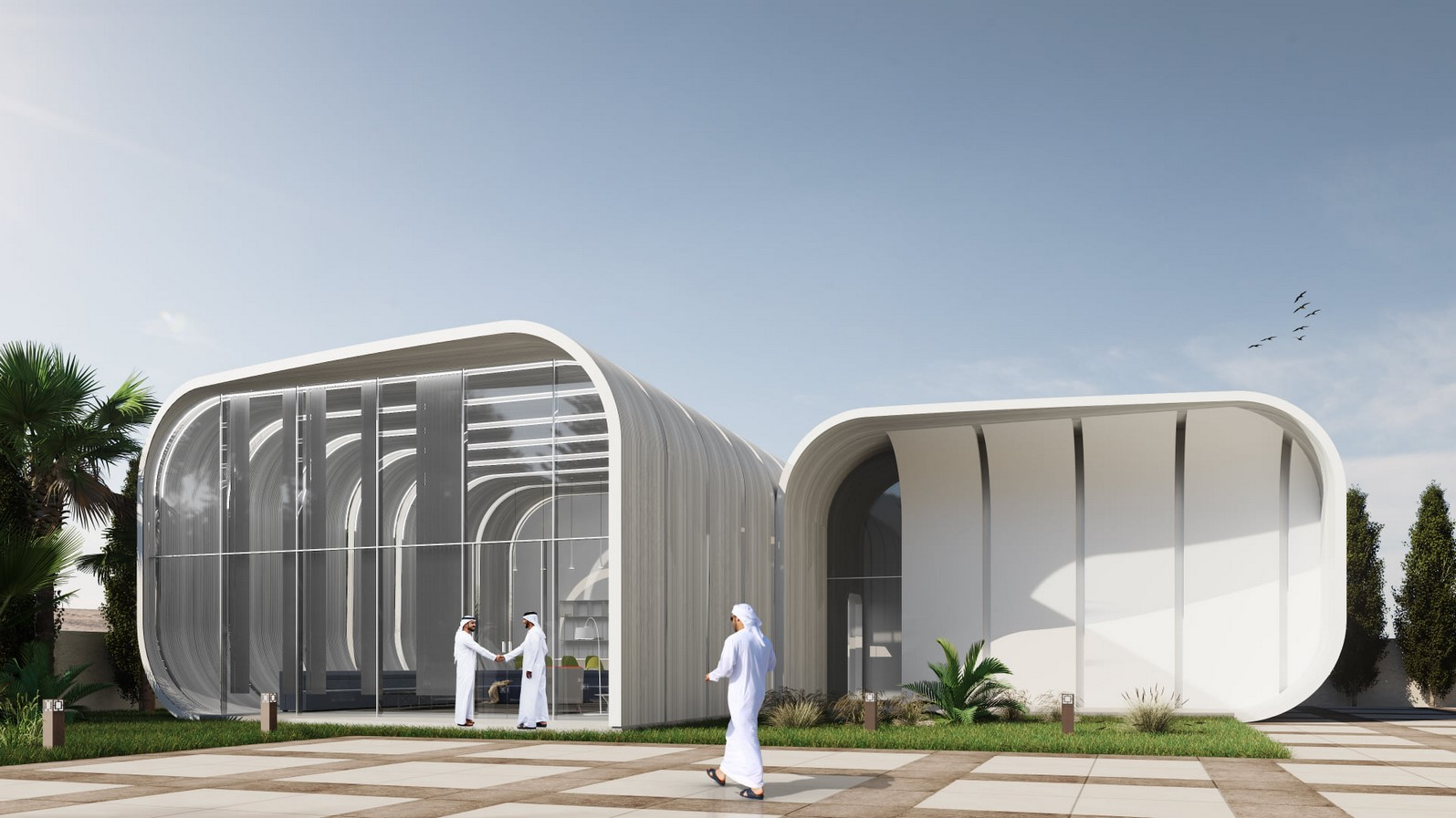 Modular 3D-Printed Majlis House With Smooth Concrete Walls In Abu Dhabi designed by MEAN* - Sheet1