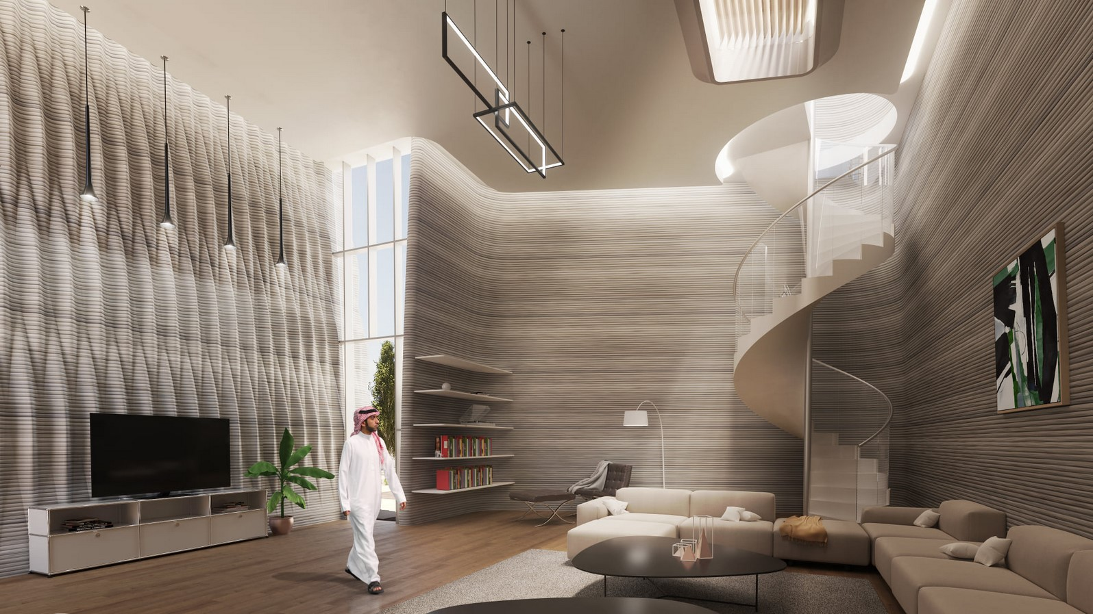 Modular 3D-Printed Majlis House With Smooth Concrete Walls In Abu Dhabi designed by MEAN* - Sheet9