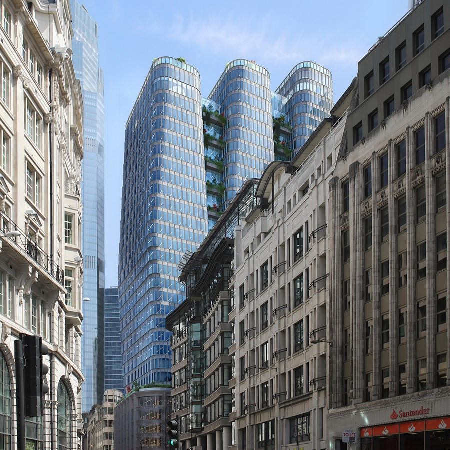 Trio of skyscrapers linked with vertical planters designed by KPF - Sheet3