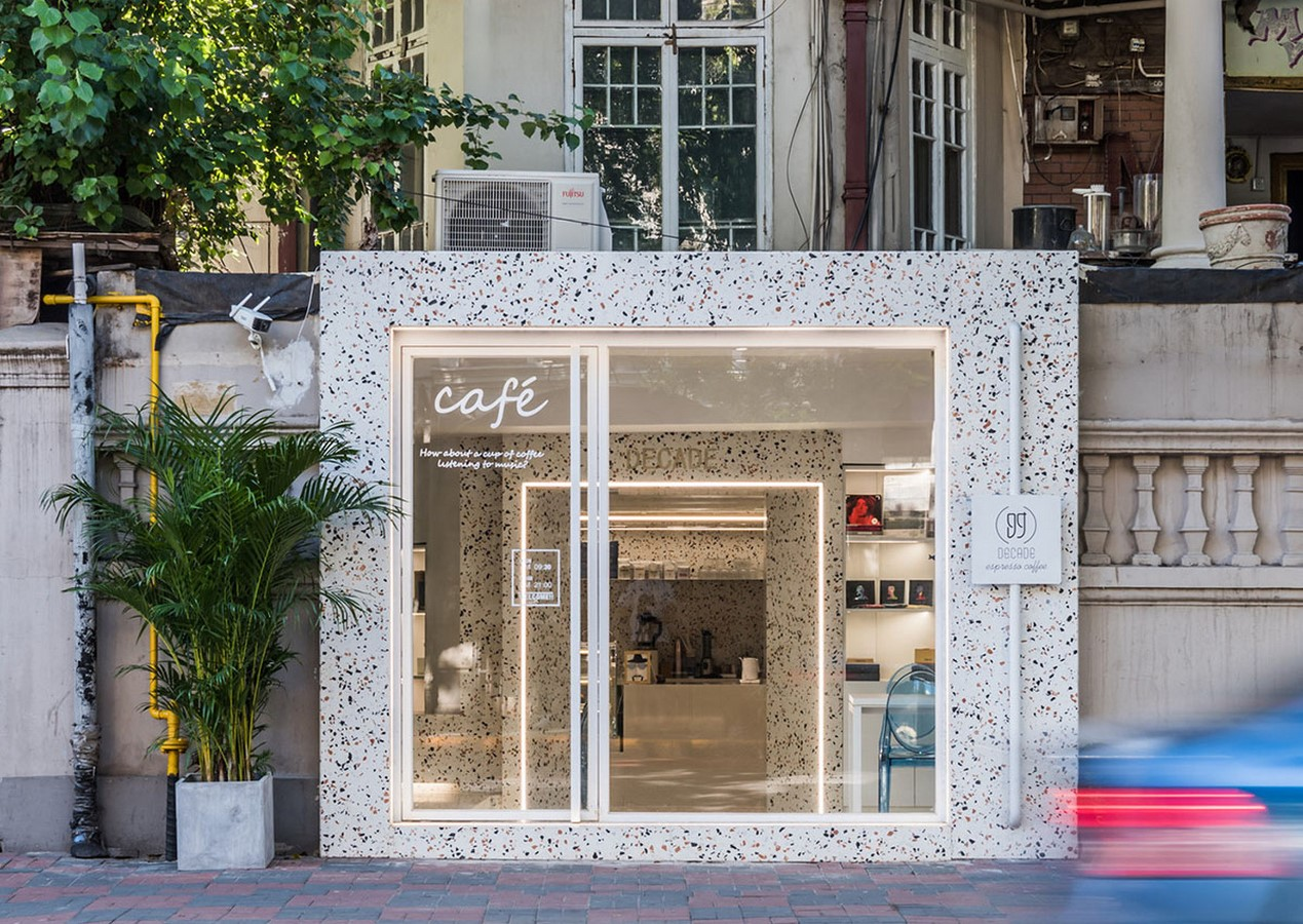 This Tiny Cafe is Dotted With White And Orange Interwoven Terrazzo Details In Tianjin is designed by TOUCH Design - Sheet1