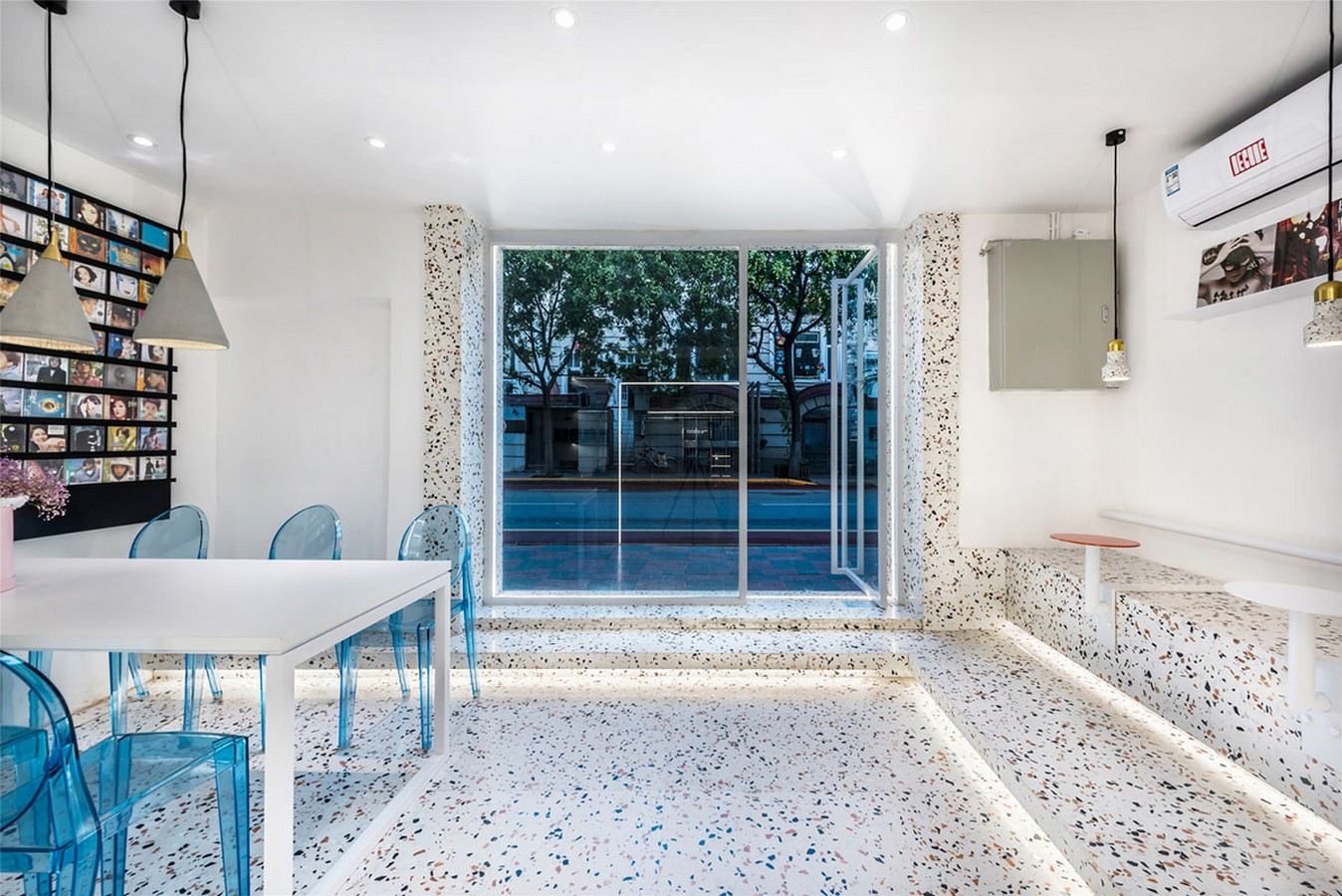 This Tiny Cafe is Dotted With White And Orange Interwoven Terrazzo Details In Tianjin is designed by TOUCH Design - Sheet3