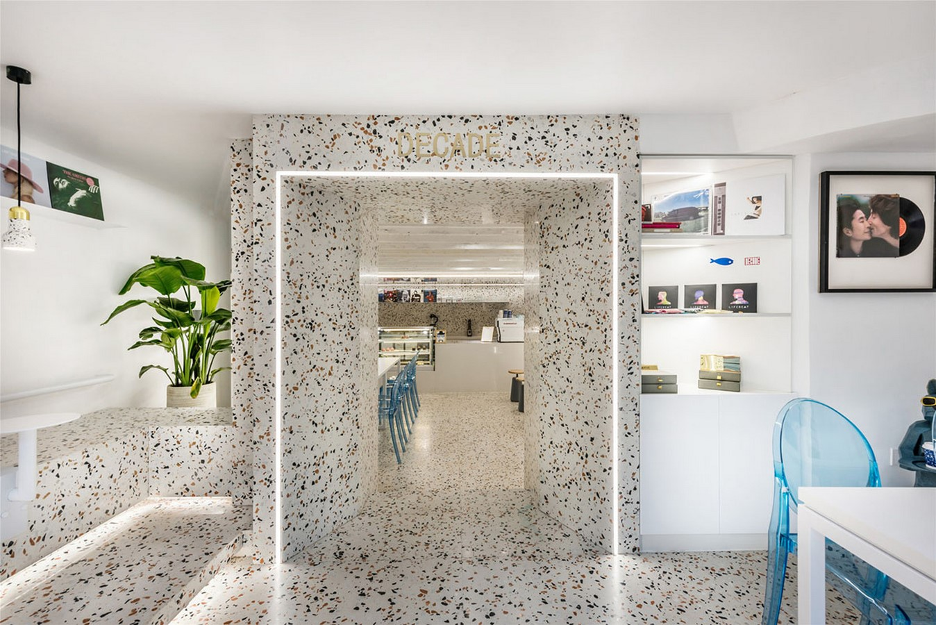 This Tiny Cafe is Dotted With White And Orange Interwoven Terrazzo Details In Tianjin is designed by TOUCH Design - Sheet4