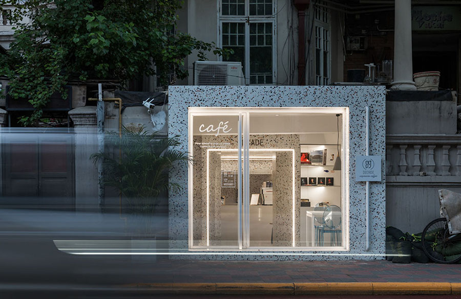 This Tiny Cafe is Dotted With White And Orange Interwoven Terrazzo Details In Tianjin is designed by TOUCH Design