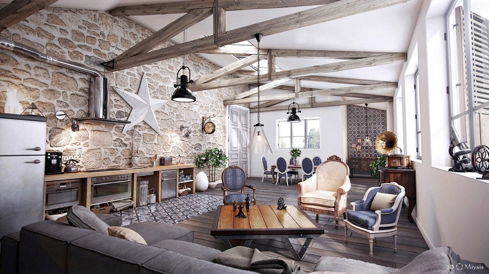 30 Examples of Rustic interiors for living rooms - Sheet26
