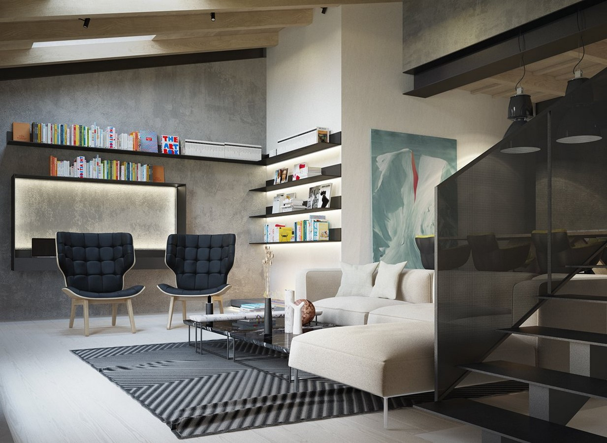 50 Living rooms enhanced by concrete - Sheet19