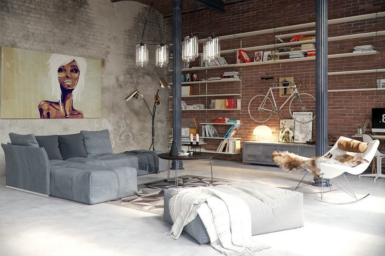 50 Living rooms enhanced by concrete - Sheet23