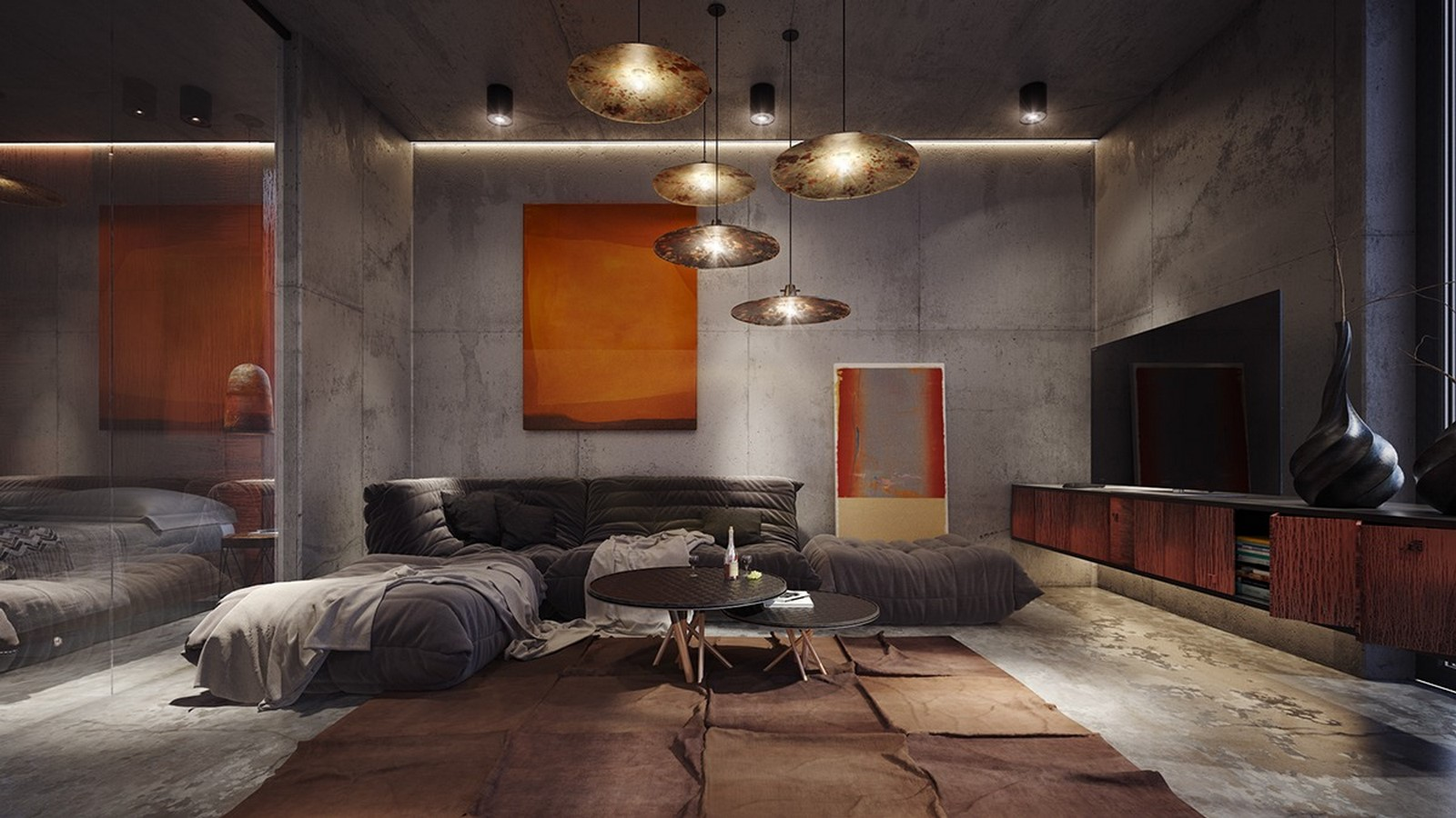 50 Living rooms enhanced by concrete - Sheet9